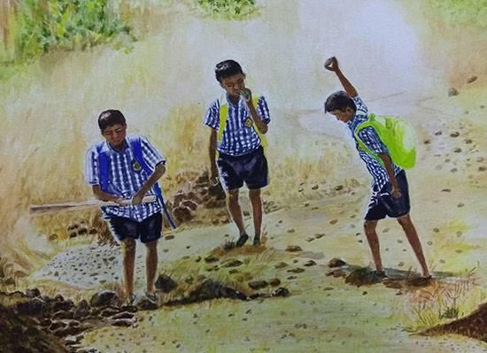 Golden Days, painting by Mrudula Bapat